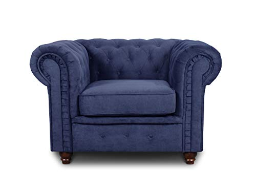 Sessel Chesterfield Asti - Couch, Couchgarnitur, Couchsessel, Loungesessel, Stühl, Holzfüße - Glamour Design (Blau (Capri 89))
