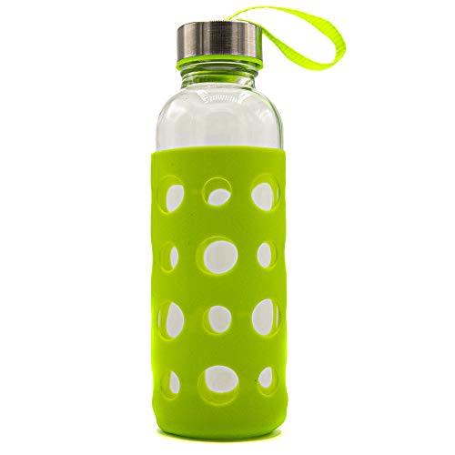 Zenhica Botella Cristal con Funda de Silicona y tapón de Acero Inoxidable. Capacidad 400 ml. Cantimplora de Agua. (Verde)
