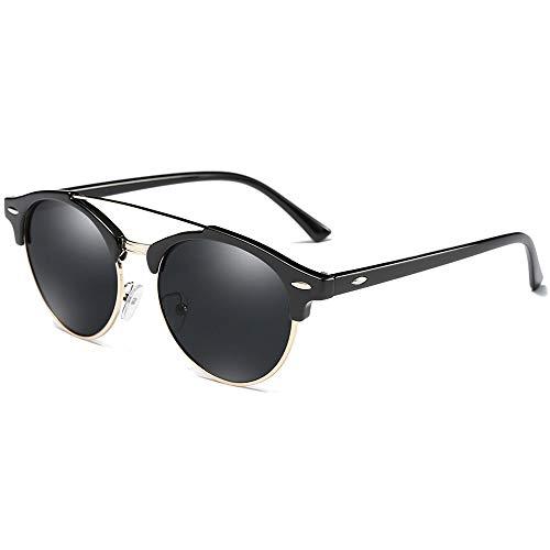 Stella Fella Gafas de sol polarizadas de moda estilo salvaje, con material metálico colorido, negro/marrón/verde para hombres y mujeres con las mismas gafas de sol de conducción (color: negro)