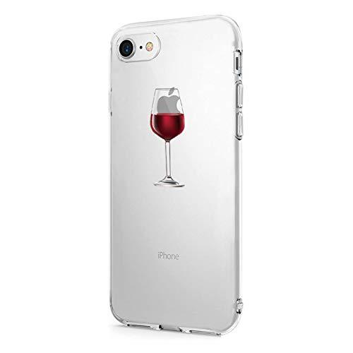 Suhctup Funda Compatible para iPhone 7/iPhone 8 Fundas, Transparente Dibujos Protección Carcasa Suave Silicona Gel TPU Bumper Ultra-Delgado Antigolpes Case Cover(Copa de Vino Tinto)