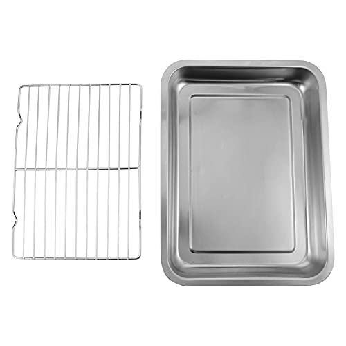 HEMOTON Baking Sheet with Rack Set Stainless Steel Cookie Sheet Pan with Cooling Rack Baking Pan Tray Drain Oil Plate for Oven