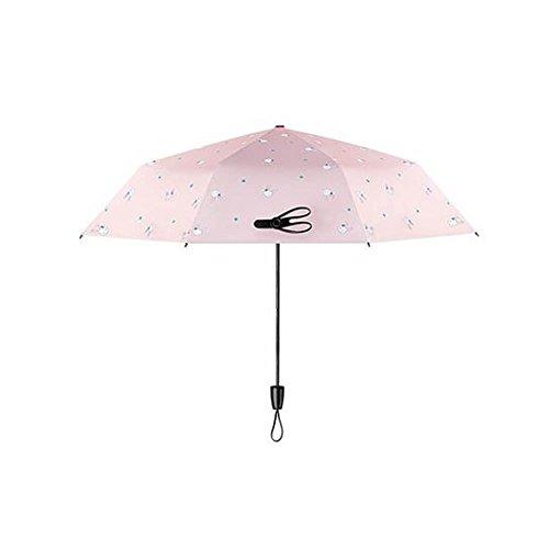 Black Temptation Compact Travel Foldable Umbrella Winddicht Leicht mit Anti-UV/Slip Griff, Häschen, Rosa