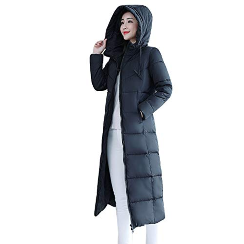 Women Coats ESAILQ Ladies Winter Warm Thick Zipper Cotton-Padded Outerwear Slim Fit Quilted Long Hooded Outercoat Overcoat with Pocket