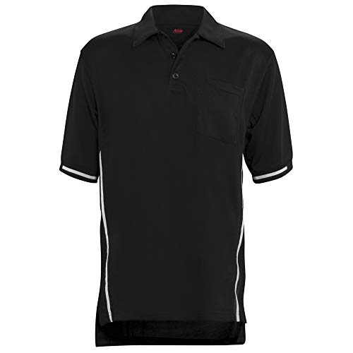 ADAMS USA Short Sleeve Baseball Umpire Shirt with Side Stripe – Sized for Chest Protector, Black, Large