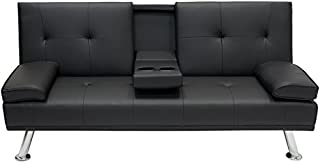 Best Choice Products Modern Faux Leather Futon Sofa Bed...