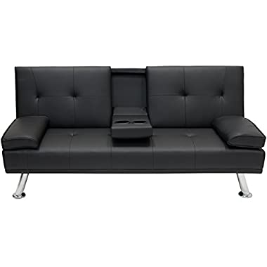 Best Choice Products Modern Faux Leather Convertible Futon Sofa Bed Recliner Couch w/Metal Legs, 2 Cup Holders - Black