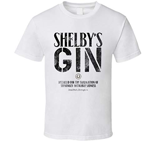 YILUFA Shelby's Gin Incurable Sadness Booze Label Peaky Blinders British Gang TV Show Fan T-Shirt Weiß Gr. XXL, Schwarz