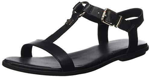 Tommy Hilfiger Damen Feminine Leather Flat Sandal Zehentrenner, Schwarz (Black Bds), 39 EU