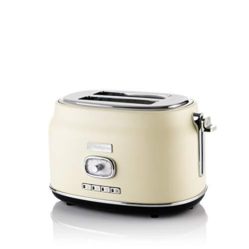 Westinghouse Retro Toaster 2 Scheiben klein - 2er Doppelschlitz Toaster mit Brötchenaufsatz, Krümelschale & weiteren Features, knuspriger Toast auf Knopfdruck, Farbe: Weiß (Creme)
