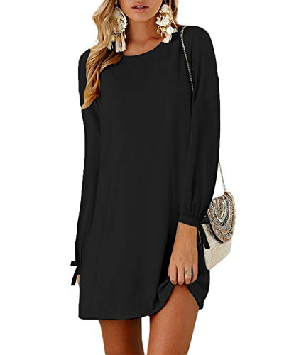YOINS Sommerkleid Damen Kurz Tshirt Kleid Rundhals Kurzarm Minikleid Kleider Langes Shirt Lose Tunika mit Bowknot Ärmeln ,S,Langarm-schwarz