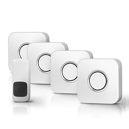 HAOXIANG Wireless Doorbell, Waterproof Cordless Door Chime Kit, Entry Bell with 450M Range, 52 Chimes, 4 Volume Levels, with 4 Plug-in Receivers, Best for Home/Office