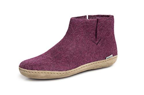 glerups dk G Ankle Shoe Unisex-Erwachsene Filz-Stiefel, Damen,Herren Huettenschuhe, Puschen Stiefel lammfell Merino-Wolle warm,Cranberry,39 EU / 6 UK