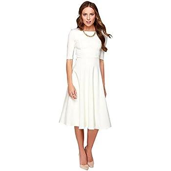 DANTIYA Women s Half Sleeve Elegant Back Zipper A-Line Knee Long Dress White