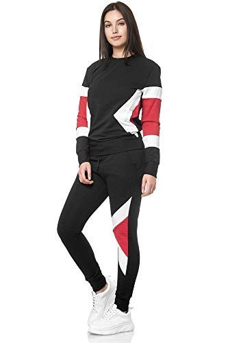 Chándal para mujer para entrenamiento, gimnasio, fitness, streetwear multicolor modelo 1215C Negro  XL