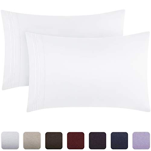 Mellanni Luxury Pillowcase Set - Brushed Microfiber 1800 Bedding - Wrinkle, Fade, Stain Resistant - Hypoallergenic (Set of 2 Standard Size, White)