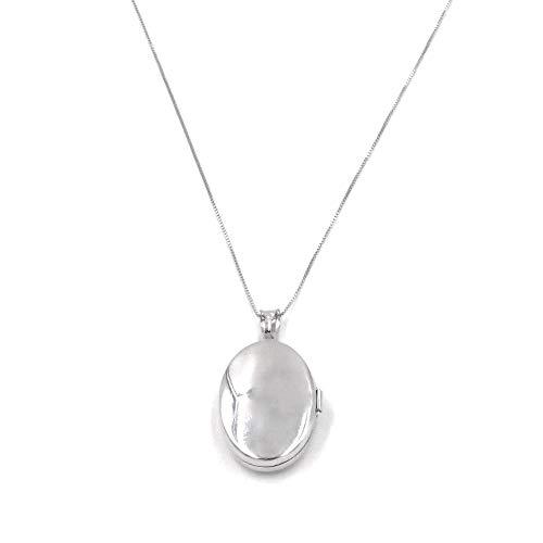 Ciondolo Portafoto Ovale in Argento 925 con collana da 50 cm, Incisione Gratuita