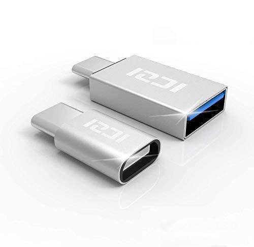 ICZI Adaptador USB Tipo C a Micro USB + Adaptador USB C a USB 3.0, Adaptadores USB OTG de Aluminio con Conectores Niquelados para Cable USB y Dispositivos USB-C,Plata