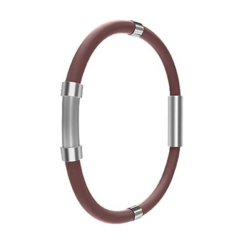 SKLU Pulsera de equilibrio de iones atléticas, pulsera de moda de bienestar energizado, pulsera de iones negativos de silicona antiestática (18 cm, marrón)