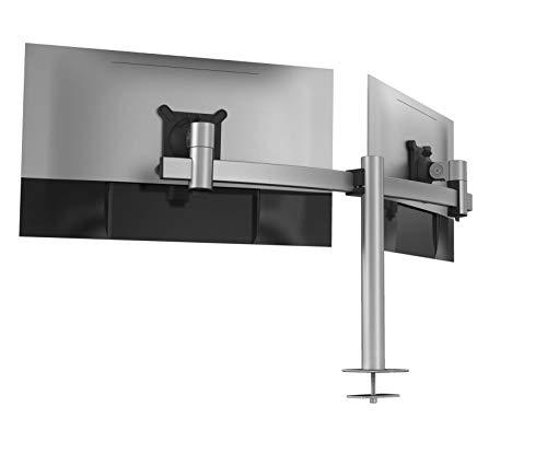 Durable 508623 - Soporte de Monitor para 2 monitores VESA de 21 a 27 Pulgadas, Giratorio 360°, inclinable, Altura Regulable, Color Plateado