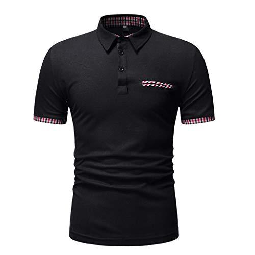Azruma Poloshirts für Herren Kurzarm Polohemd Strech-Baumwolle Rundhalsausschnitt T-Shirt Schnalle Slim Fit Poloshirt Kurzarm Shirts