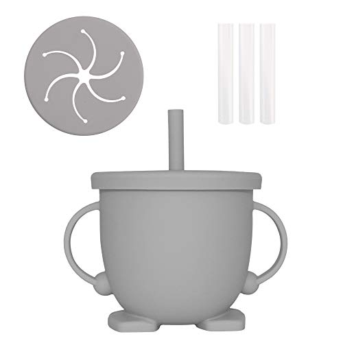YAPROMO 150ML Silicone Training Drinking Straw Cup For Baby,Baby Snack Cup,2 Handles And 2 Lids With 3 Straw,BPA Free Silicone Toddler Feeding Toys Cup Easy To Clean And Store