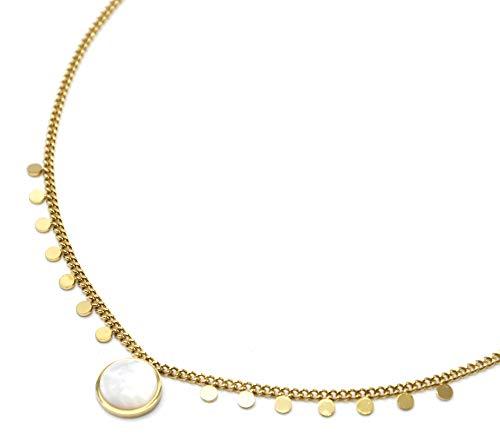 Oh My Shop CC3473 – Collar con cadena de mini perlas, acero dorado y piedra de nácar