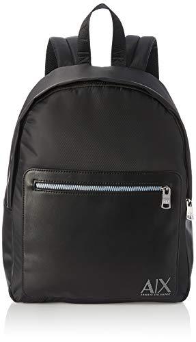 Armani Exchange A X Herren Nylon/Eco Leather Backpack Rucksäcke, Nero/Nero-Schwarz/Schwarz, Einheitsgröße