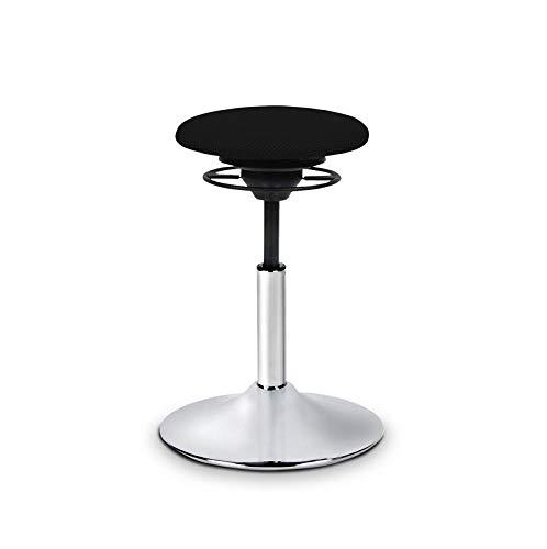 BALIMO Classic, Bürohocker, Sitzhocker, ergonomischerRücken-Trainer, StandfußSilber gebürstet, Bezug schwarz