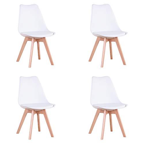 EGOONM Set di 4 sedie da Pranzo scandinave, sedie da Tulipano Imbottite retrò da Cucina/Sedia da Ufficio con Gambe in Legno massello di faggio (Bianco)
