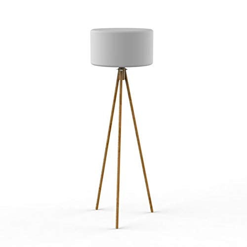 Chloe - Lámpara de pie para exteriores (trípode, luz solar, inalámbrica, 140 cm de alto), color blanco