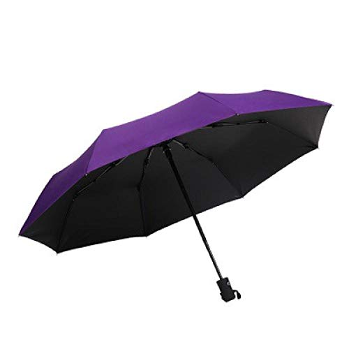 Windproof Travel Umbrella Drying Folding Compact,Travel Folding Umbrella Fast Drying,Windproof Reinforced Automatic Three-fold Umbrella-Vinyl Purple_8 Bones