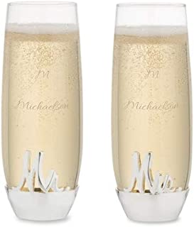 Things Remembered Personalized Mr and Mrs Silver Base Stemless Toasting Flutes Set with Engraving Included