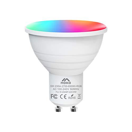 MoKo WiFi LED Bombilla Inteligente, [GU10 5W] Lámpara LED...
