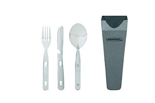 Ferrino bestekset, lepel, vork en mes voor camping, grijs