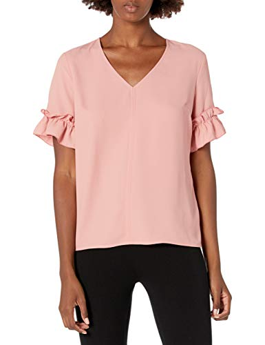 Lark & Ro Women's Florence Ruffle Short Sleeve V-Neck Top, ROSETTE, 2