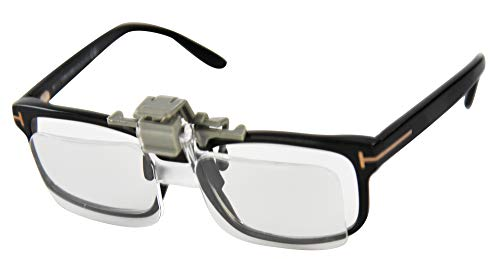 """HOME-X Clip-On Magnifier for Glasses with Pouch, Magnifying Lenses for Crafting and Hobbies, Clip-On and Flip-Up, 2.0 Magnification, 5' L x 1 ½"""" W x ¾' H"""