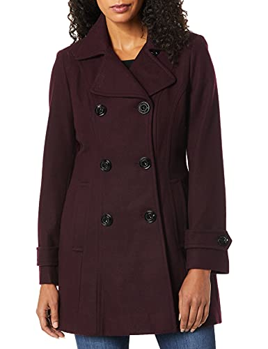 Anne Klein Women's Classic Double Breasted Coat, Merlo, Medium
