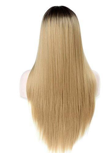ZMHVOL La Peluca Recta de Longitud de la Peluca de 68 cm es un Cabello marrn Claro Que se Puede Usar para modificar la Forma Cuadrada de la Mujer (Color: Oro) ZDWN (Color : Gold)