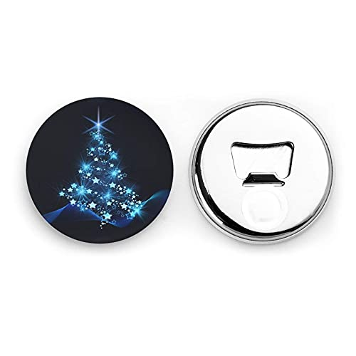 Christmas Tree and Star Round Bottle Openers/Fridge Magnets Stainless Steel Corkscrew Magnetic Sticker 2 Pcs