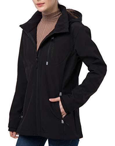 Women's Softshell Jacket with Removable Hood, Fleece Lined Waterproof Windproof Outdoor Cycling Hiking Coat Black