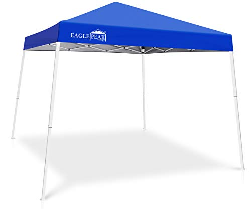 EAGLE PEAK 10' x 10' Slant Leg Pop-up Canopy Tent Easy One Person Setup Instant Outdoor Canopy Folding Shelter with 64 Square Feet of Shade (Blue)