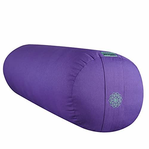 DiMonde Bolster Yoga | Yin, Yoga restauratif, méditation, Relaxation | Rembourrage en kapok | Housse Amovible et Lavable en Coton Bio | Poignée de Transport | 65 x 23 cm Violet