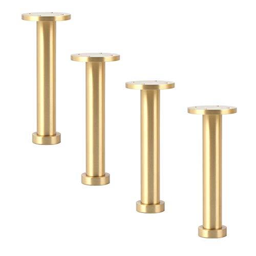 FFYN 4er-Set Messing-Möbelbeine, verstellbare Möbelfüße, Metallmöbelfuß, Sofabeine für Schrank, Couchtisch, TV-Standbeine, Badezimmerschrankbeine, mit Schrauben, Bodenschutz (200 mm)