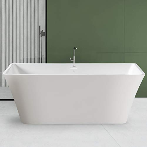 FerdY Sentosa 59' Acrylic Freestanding Bathtub, Contemporary Design Soaking Tub with Brushed Nickel Drain and Minimalist Linear Design Overflow, Easy to Install, 02560