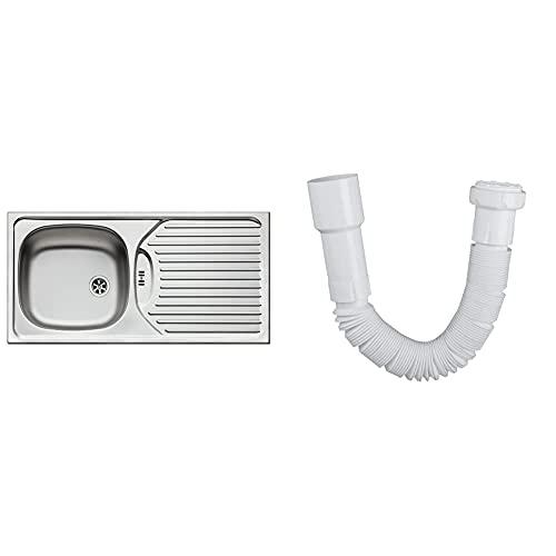 Pyramis 100120402 CA1 Einbauspüle Edelstahl, glatt & Anschlussrohr flexibel für Spülen-Geruchsverschluss | Siphon | Kunststoff | 40 / 50 mm