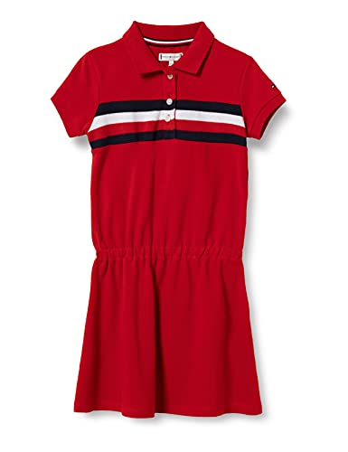 Tommy Hilfiger Pique Polo Dress S/S, Vestido Niñas, Carmesí Profundo, 36