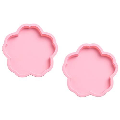 Hemoton 2 bandejas de silicona para hornear con forma de flor de cerezo para brownie, molde de silicona antiadherente para hornear tartas caseras, pan, galletas, rosa