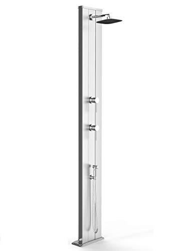 arkema Dada S Solar-Dusche aus eloxiertem Aluminium, Edelstahl, mit Mischbatterie für Warmwasser und Kaltwasser, 40 Liter, Höhe 229 cm
