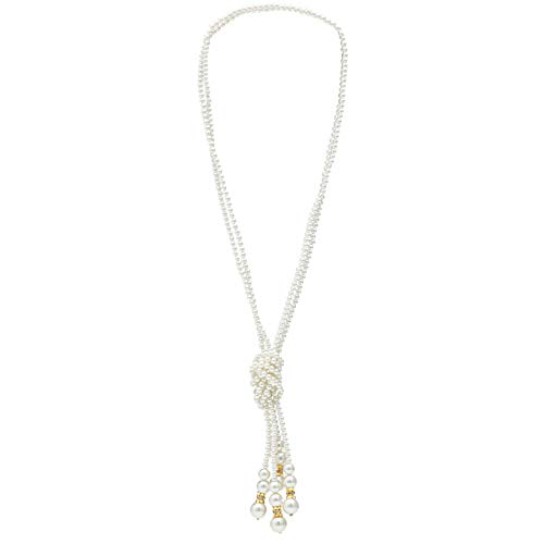 Metme Girls Necklaces Women's Vintage 1920s Gatsby Flapper Long Pearl Necklace Costume Party Accessories Gold