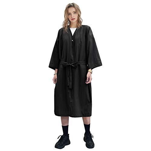 GOGO Spa Robe Salon de beauté Blouse pour femmes Kimono Client Uniforme Polyester Premium Quality Large-Black